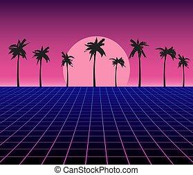 synthwave, 風景, 波, ベクトル, バックグラウンド。, 格子, レーザー, ゲーム, 80s, レトロ, 蒸気, ポスター, ネオン, synth, スペース, 未来派