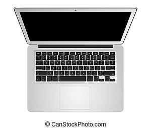 synvinkel, mockup, topp, isolerat, anteckningsbokdator, silver