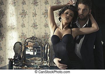 sypialnia, para, sexy