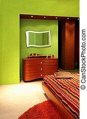 sypialnia, szczegół, zielony