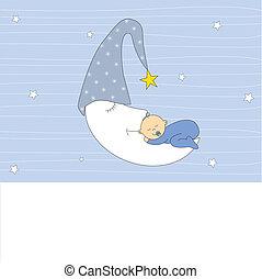 sypialny księżyc, chłopiec niemowlęcia