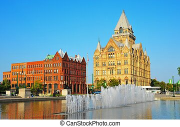 The histortical Syracuse Savings (right) and Third National Bank buildings at Clinton Square in Syracuse, New York.
