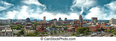 panorama of the city of syracuse, new york, looking south