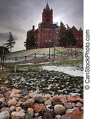 Syracuse, New York, USA. January 27, 2018. Hill and stairs leading up to the Crouse College of Fine Arts on the Syracuse University campus