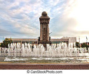 view of Clinton Square in Syracuse , New York at sunrise