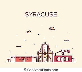 Syracuse skyline Sicily Italy vector linear style