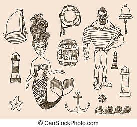 syrena, latarnia morska, inny., statek, komplet, marynarz