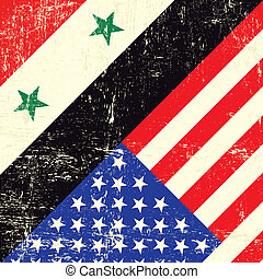 Syria and usa grunge flag