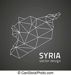 Syria black vector contour triangle perspective map - Syria ...