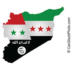 Syria Conflict - Map of Syria showing the three warring ...