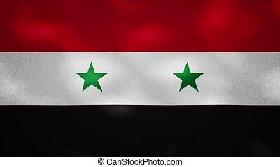 Syrian Arab Republic dense flag fabric wavers, perfect loop for background