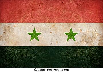 Syria flag on grunge old paper background