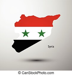 Syria flag on map of country