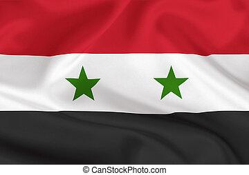 Syria flag on waving silk background - Syria flag on waving...