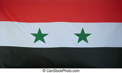 Syria Flag real fabric Close up 4K - Textile flag of Syria...