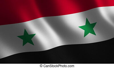 Syria flag waving 3d. Abstract background. Loop animation....