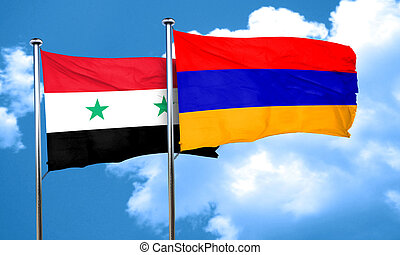 Syria flag with Armenia flag, 3D rendering