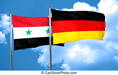 Syria flag with Germany flag, 3D rendering