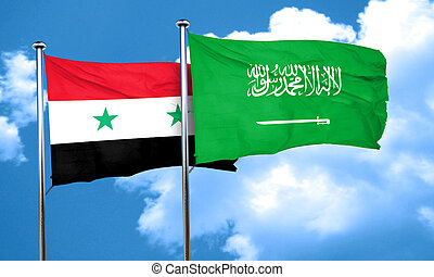 Syria flag with Saudi Arabia flag, 3D rendering