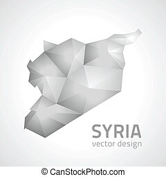 Syria grey and silver polygonal triangle vector map - Syria ...