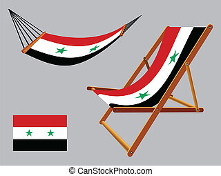 syria hammock and deck chair set against gray background,...