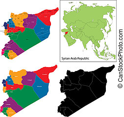 Syria map designed in illustration with regions colored in ...