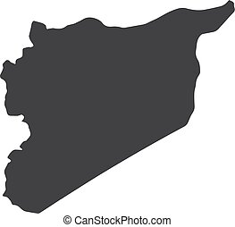 Syria map in black on a white background. Vector illustration