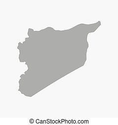 Syria map in gray on a white background