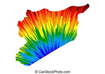 Syria - map is designed rainbow abstract colorful pattern, ...