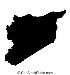 Syria map. Silhouette in black on a white background isolated