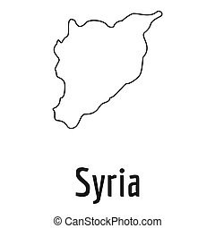 Syria map thin line simple