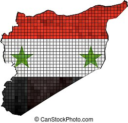 Syria map with flag inside