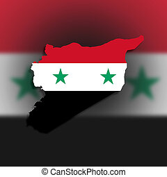 Syria map with the flag inside
