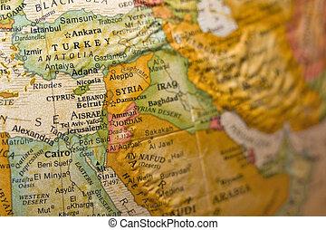 Syria on antiqued globe