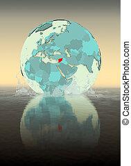 Syria on globe splashing in water