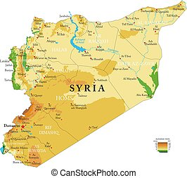 Syria physical map - Highly detailed physical map of the ...