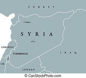 Syria political map with capital Damascus, national borders...