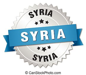 Syria round silver badge with blue ribbon