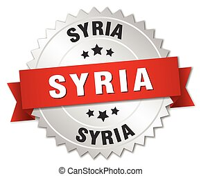 Syria  round silver badge with red ribbon
