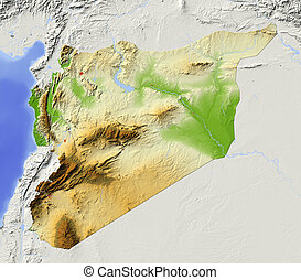 Syria, shaded relief map - Syria. Shaded relief map with...