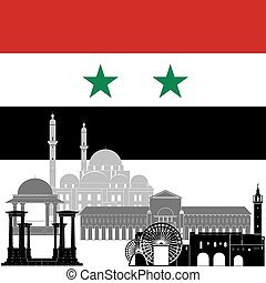 Syria - State flags and architecture of the country. ...