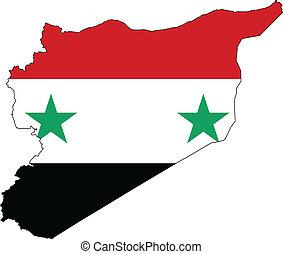 syria vlag, kaart