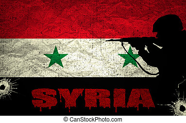 Syrian conflict - A silhouette of a soldier on the Grunge...
