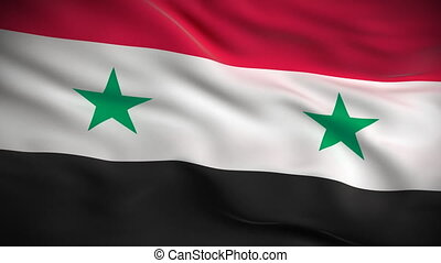 HD 1080. Highly detailed Syrian flag ripples in the wind. Extreme detail includes fabric texture. Animation is looped for continuous playback.