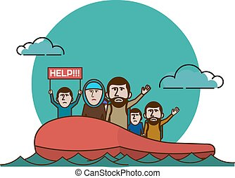 refugees - Syrian refugees on boat.  Civil war in Syria