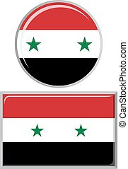 Syrian round and square icon flag.