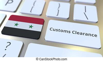 syrie, texte, drapeau, douane, ou, informatique, exportation, keyboard., animation, conceptuel, importation, dégagement, 3d, apparenté