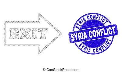 syrie, toile, bleu, sortie, cachet, grunge, flèche, conflit, carcasse