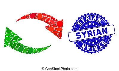 syrien, échange, timbre, mosaïque, icône, textured