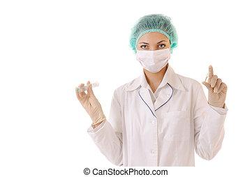 Syringe and drug in doctor\'s hands